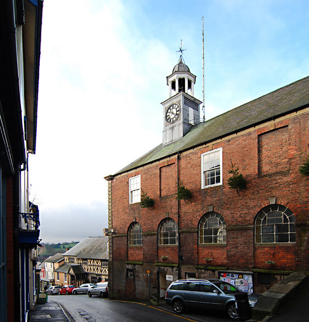 Side of town hall, showing the doors to the former lock-up (now public convenience)