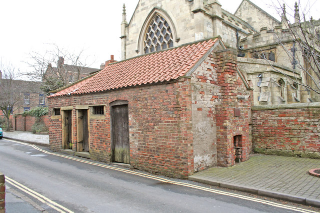 Exterior, showing proximity to church