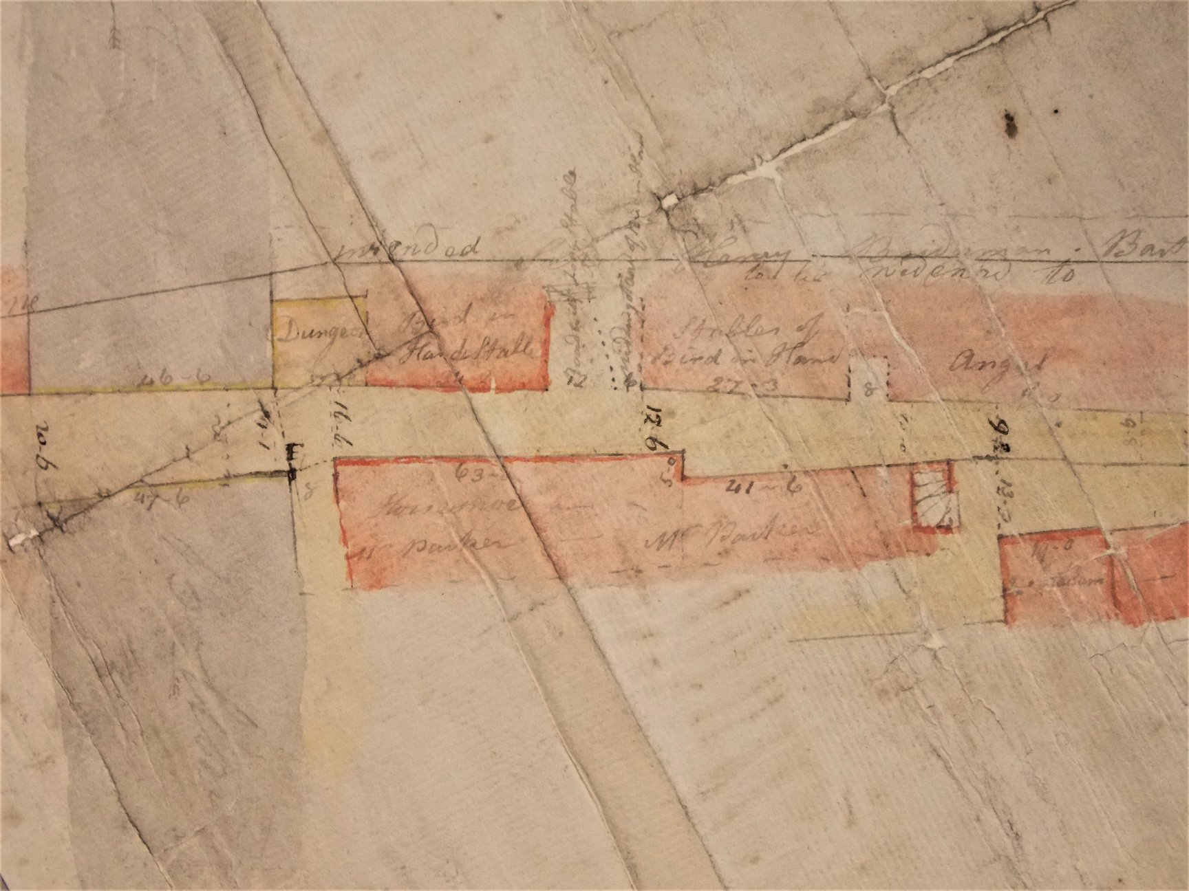 Section of a map of Windy Bank dating from 1797, showing the position of the dungeon (shaded yellow), next to the Bird in Hand stable.