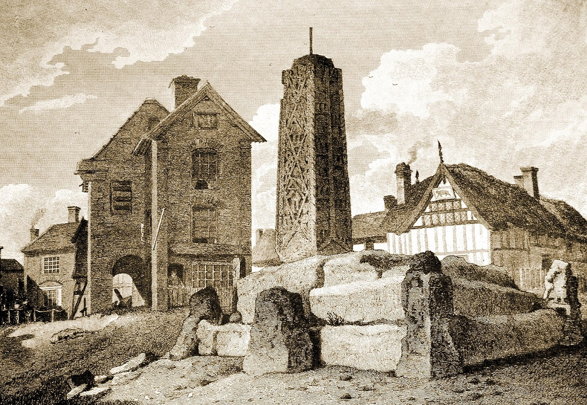 Engraving by W. Alexander, F.S.A., dated 1810, showing the Old Town Hall to the left and behind the Ancient Crosses. The figure of a man can be seen in a doorway on the ground floor of the Town Hall. This was the entrance to the lock-up.