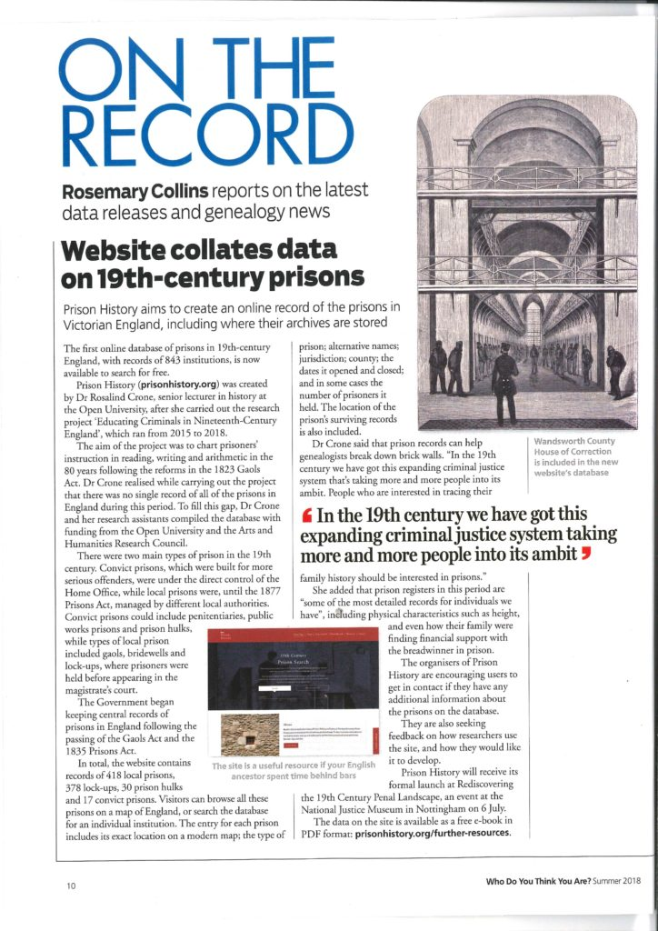On the record - Who Do You Think You Are? Magazine feature on the Prison History database.