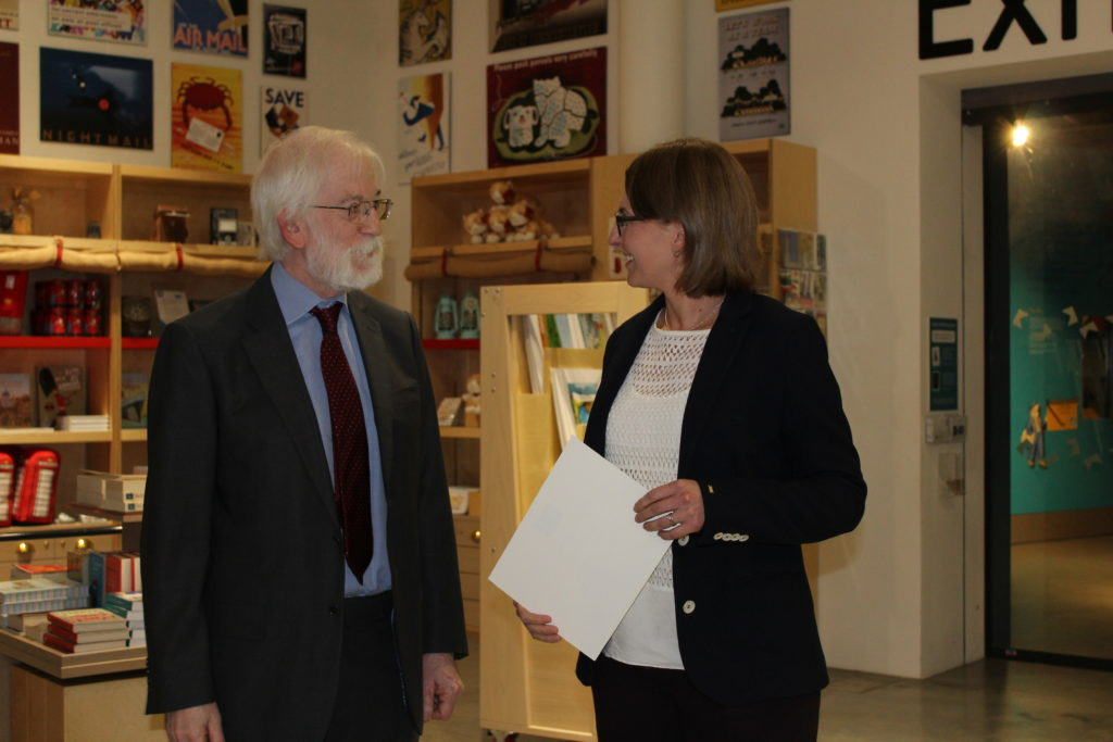Prison History was awarded a 'Highly Commended Certificate' by the judges of the inaugural Janette Harley Prize. In this picture Janette Harley's brother, Iain, presenting the certificate to Rosalind Crone.