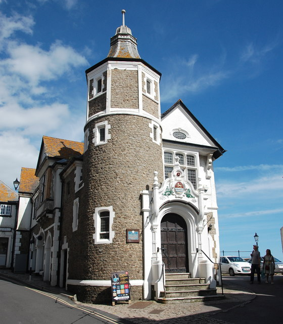 Lyme Regis Guildhall. The old lock up door, with inscription, is the first opening to street level on the left-hand side of the image.