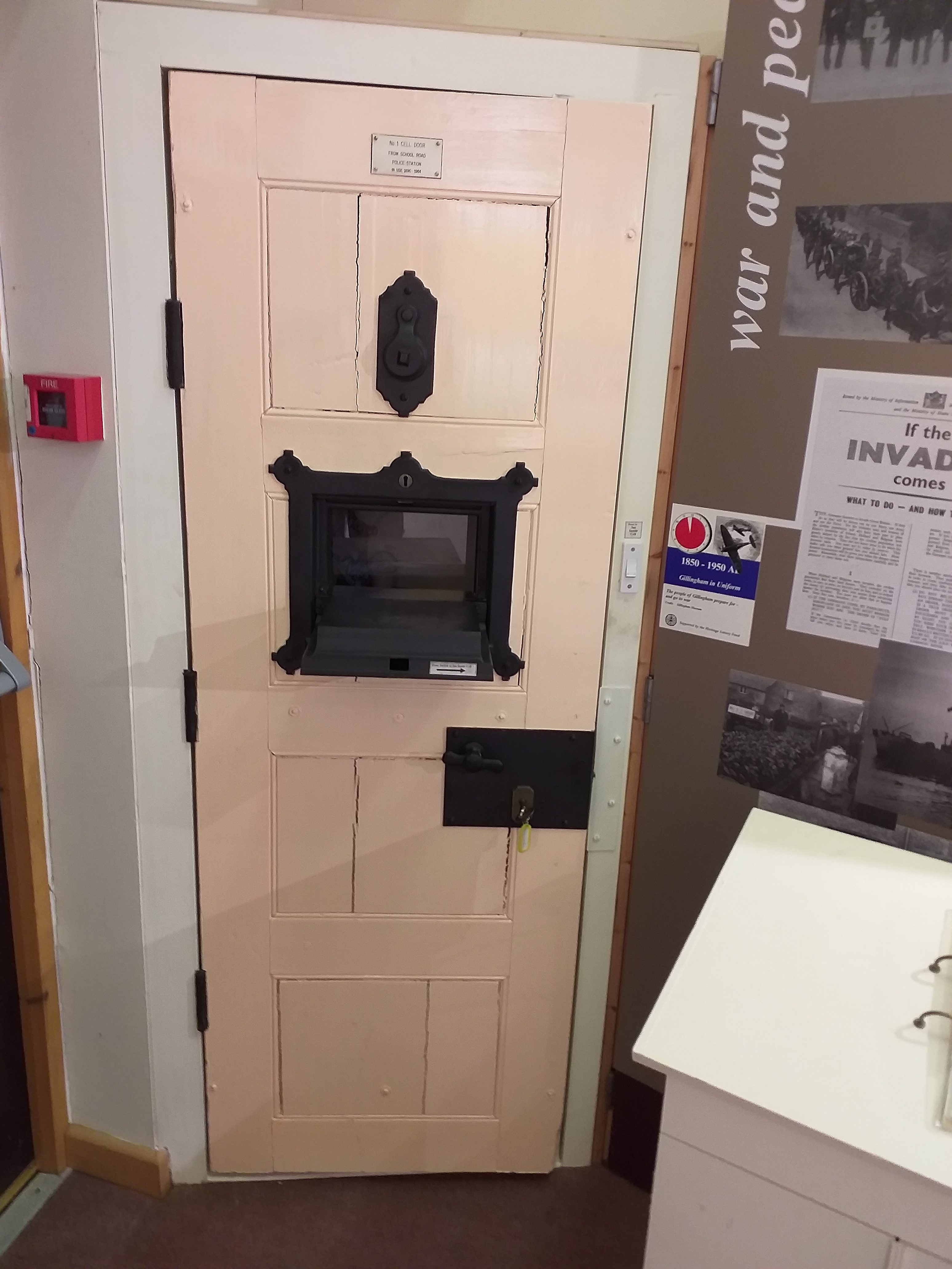 One of the original cell doors, now on display in Gillingham Town Museum. The door was in use until 1984 when the interior of the station was modernised.