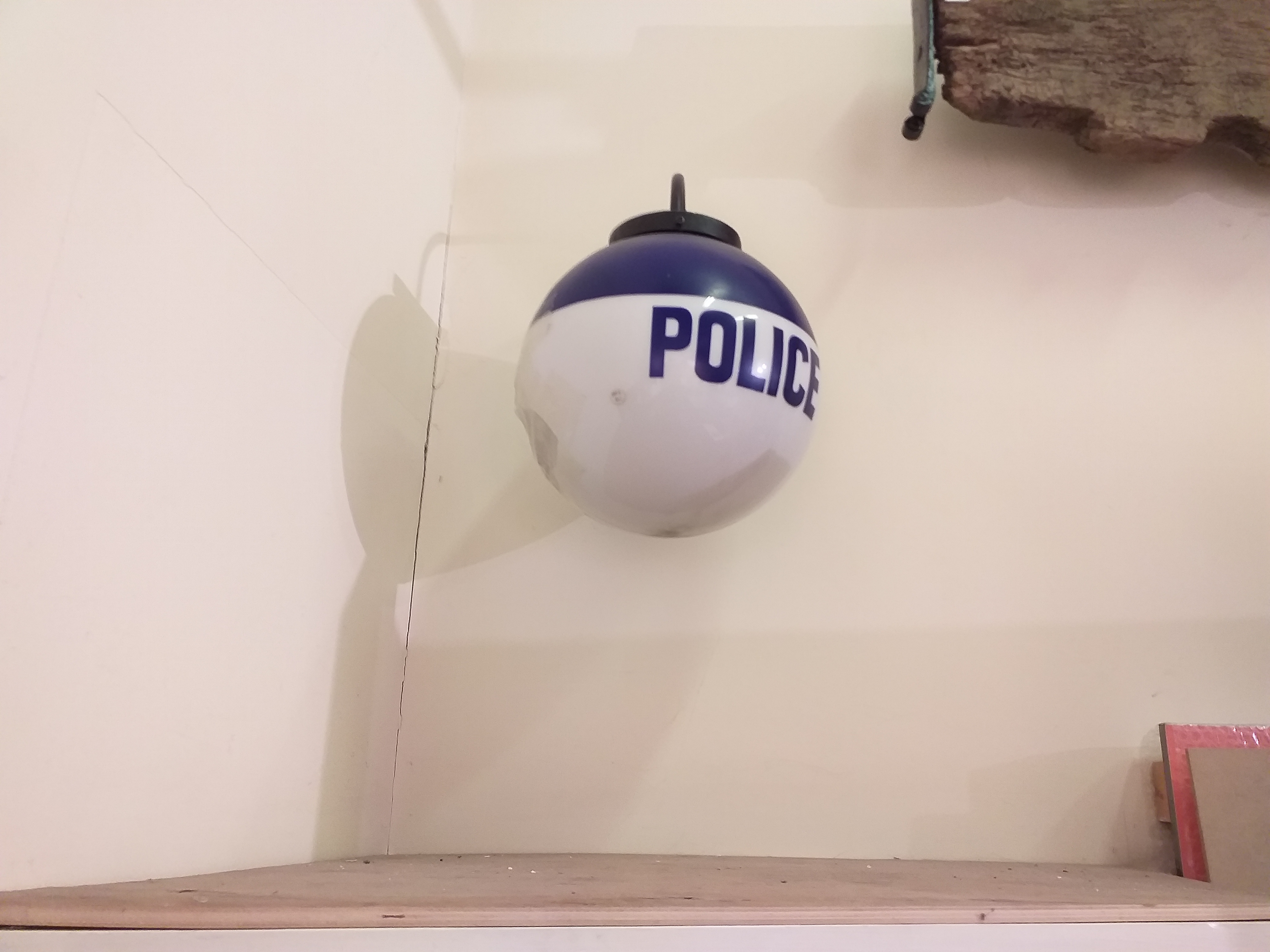 Original exterior police light. On display in Gillingham Town Museum