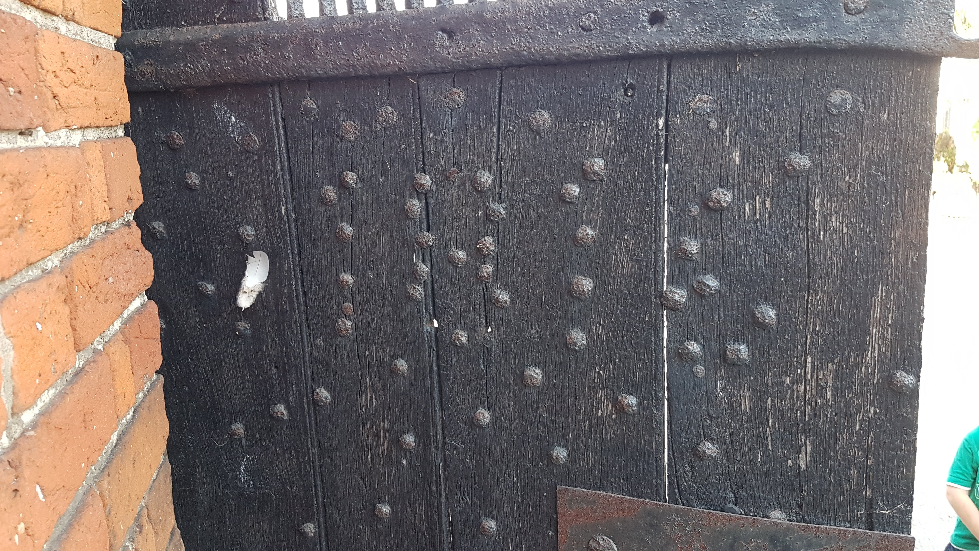 Studs nailed into outer door which form the numbers - 1816 - presumably the year in which the lock-up was built.