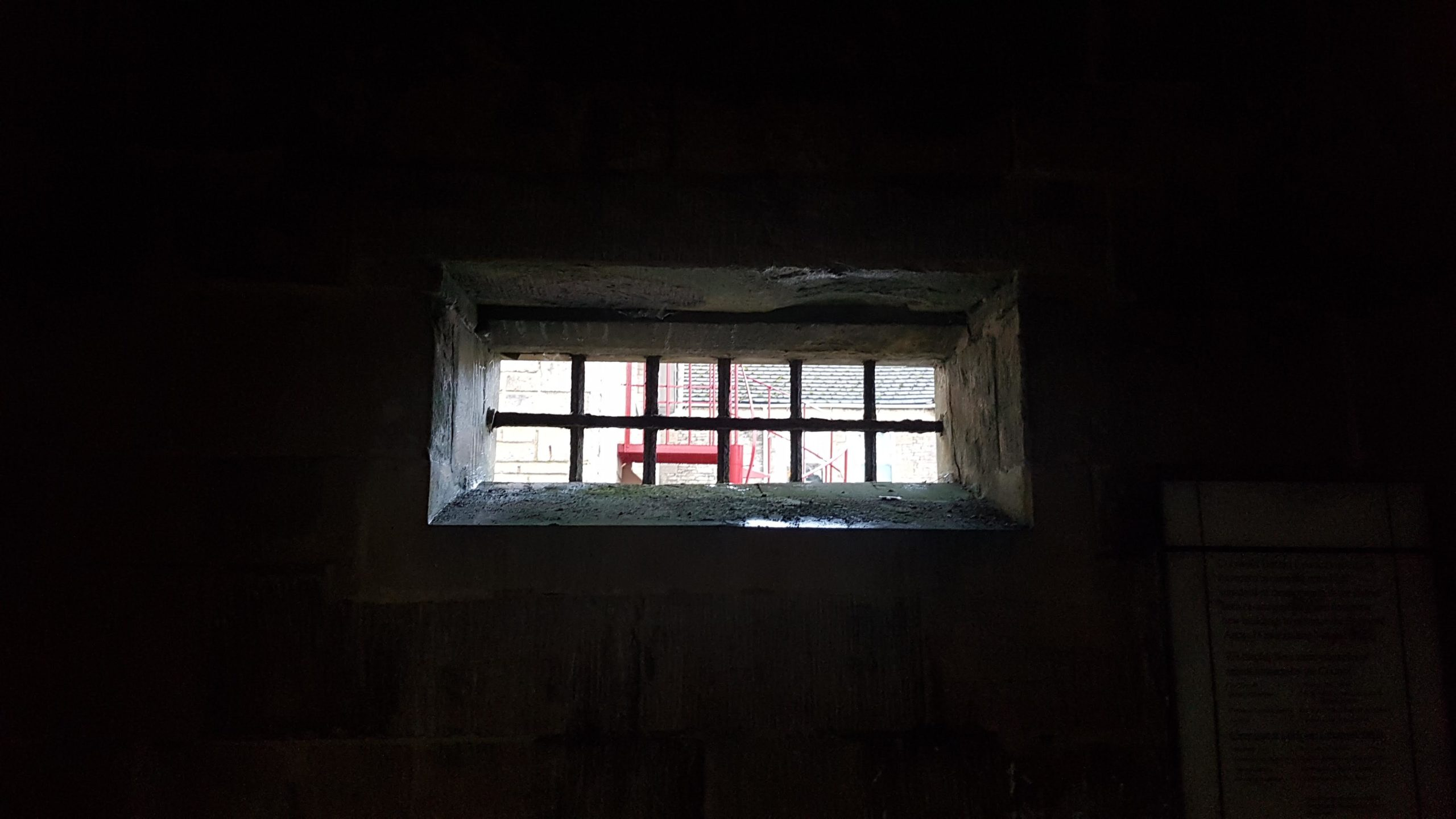 Cell window, or aperture, seen from the inside of one of the cells.