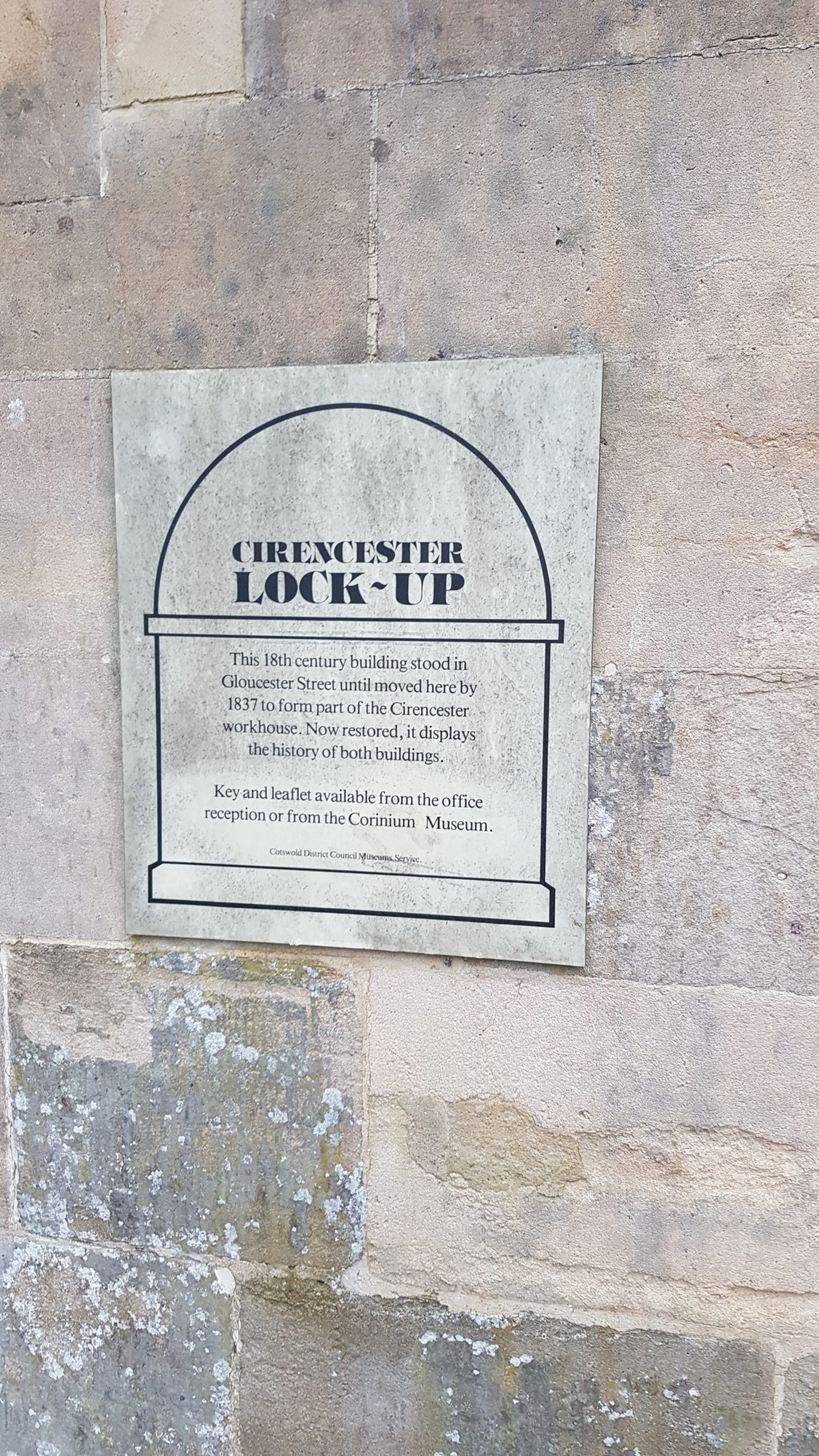 Plaque on the exterior wall of the lock-up. Note it is incorrect - the lock-up is a 19th century building, not 18th century.