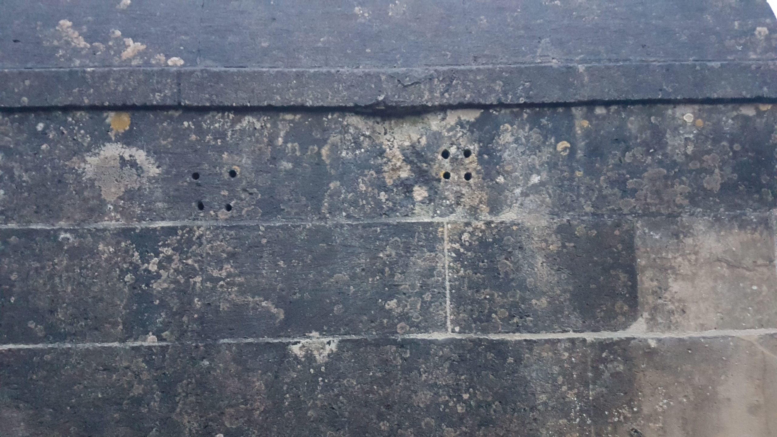 Exterior wall of the second cell. Faces the roadside. Showing the ventilation holes which have been drilled into the top of the wall, below the roof line.