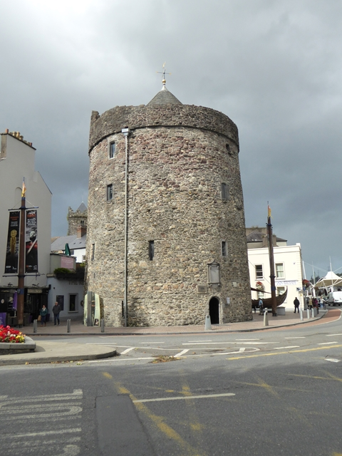 Reginald's Tower, exterior, showing the door to the lock-up and prison
