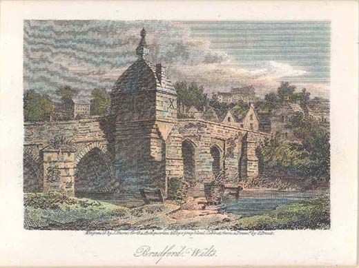 Colour engraving, Town Bridge with wool frames in river, Bradford-on-Avon, Wiltshire artist S Prout, printmaker J Storer, publisher W Clarke and J Carpenter, London 1809