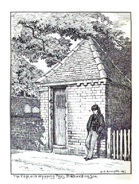 The Cage and Whipping Post, Bradwell on Sea (A. B. Bamford, 1897)