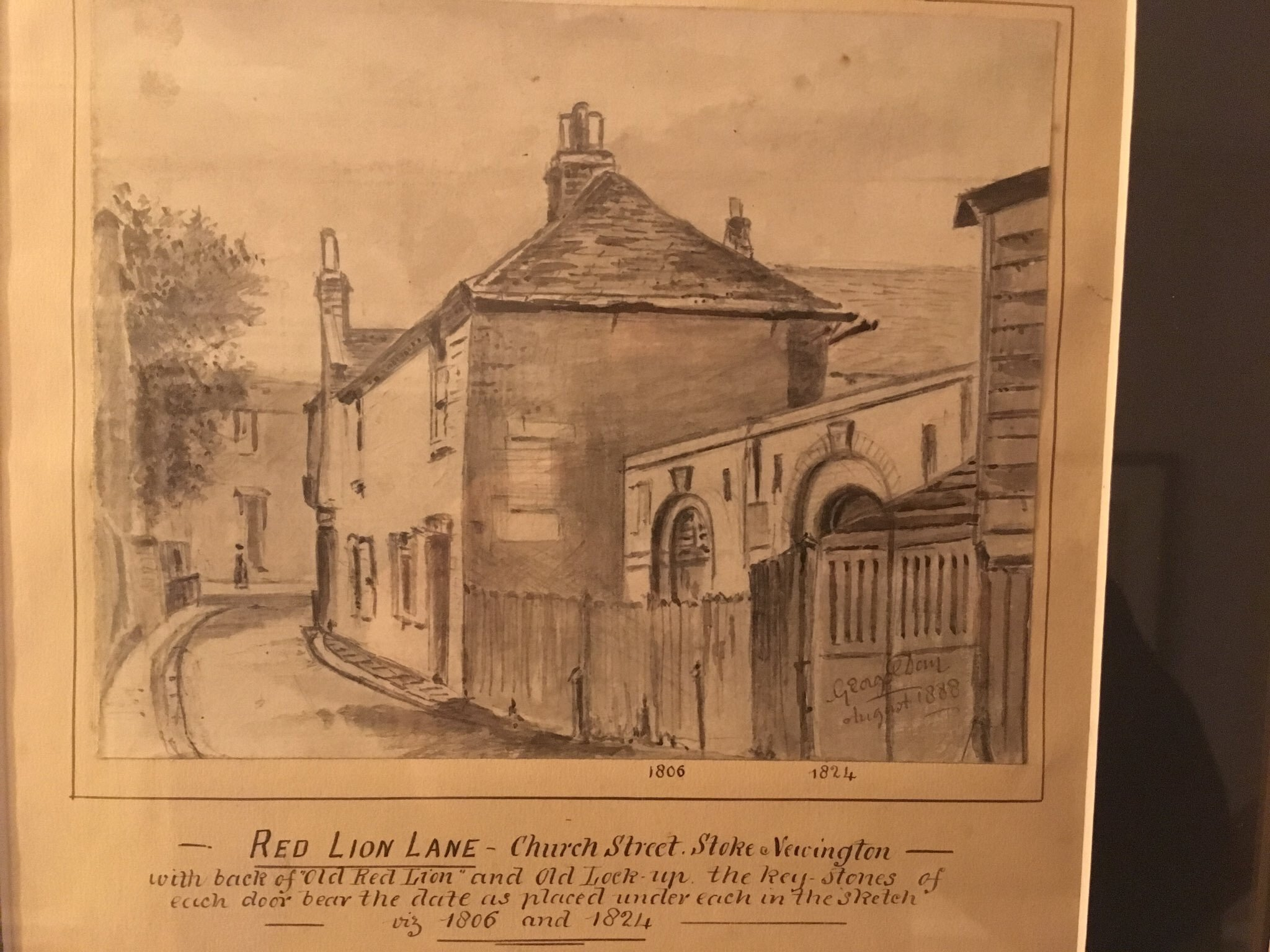 Sketch, from c.1888, showing the original lock-up at the back of the Red Lion.