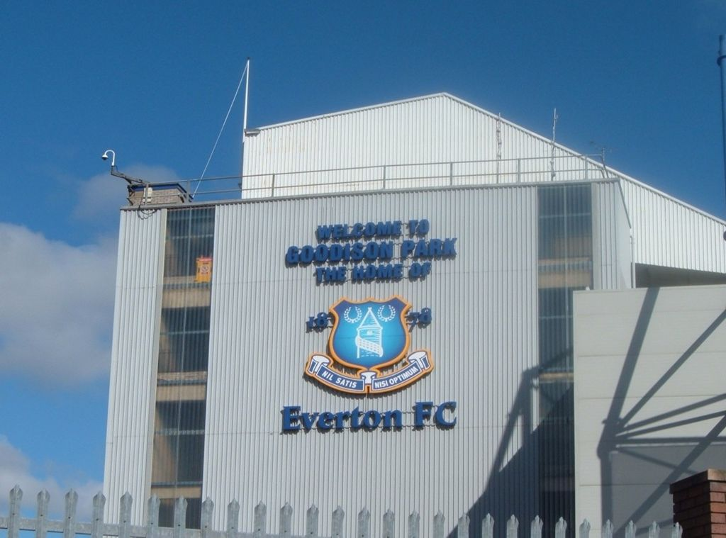 Everton FC Badge at Goodison Park featuring Prince Rupert's Tower