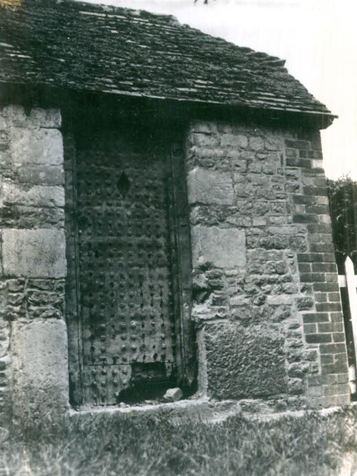 Photograph, lock-up after the uncovering of the original studded door, Maiden Bradley, Maiden Bradley with Yarnfield, Wiltshire, 1979