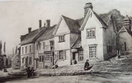 Photograph of Owen Carter's 1850 watercolour of Market Lavington Market Place