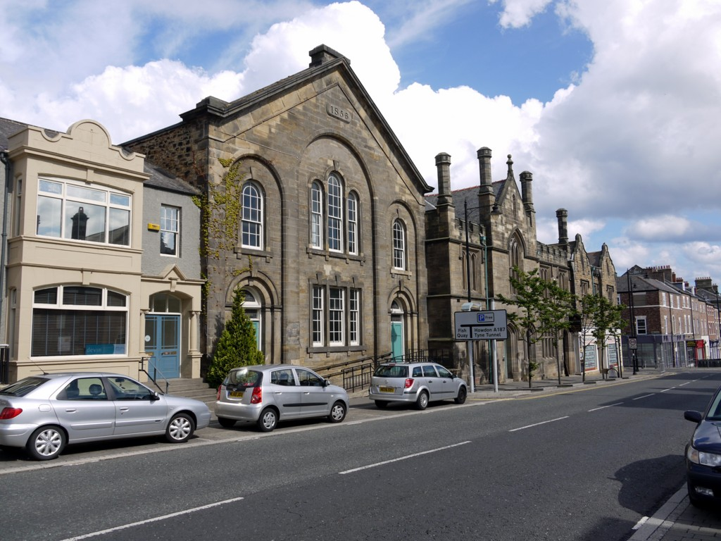 Former Free Methodist chapel, Howard Street, North Shields (Town hall and courts to right of road sign)