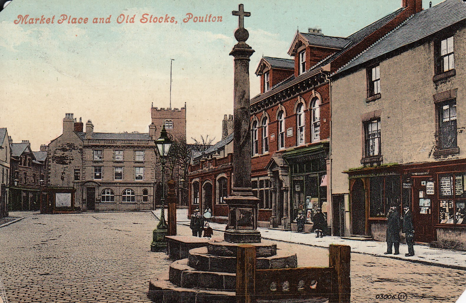 Market Place and Old Stocks, Poulton.  (Unknown date.  Souvenir postcard printed by Valentine's)