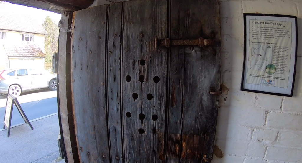 Great Bardfield Cage lock-up - the inside door with breathing holes