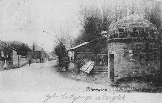 Postcard, Blind House and village street beyond, Shrewton, Wiltshire, 1904