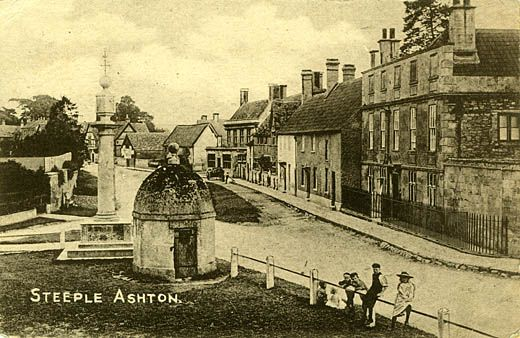 Postcard, the lock-up and market cross, The Green, High Street, Steeple Ashton, Wiltshire, 1918