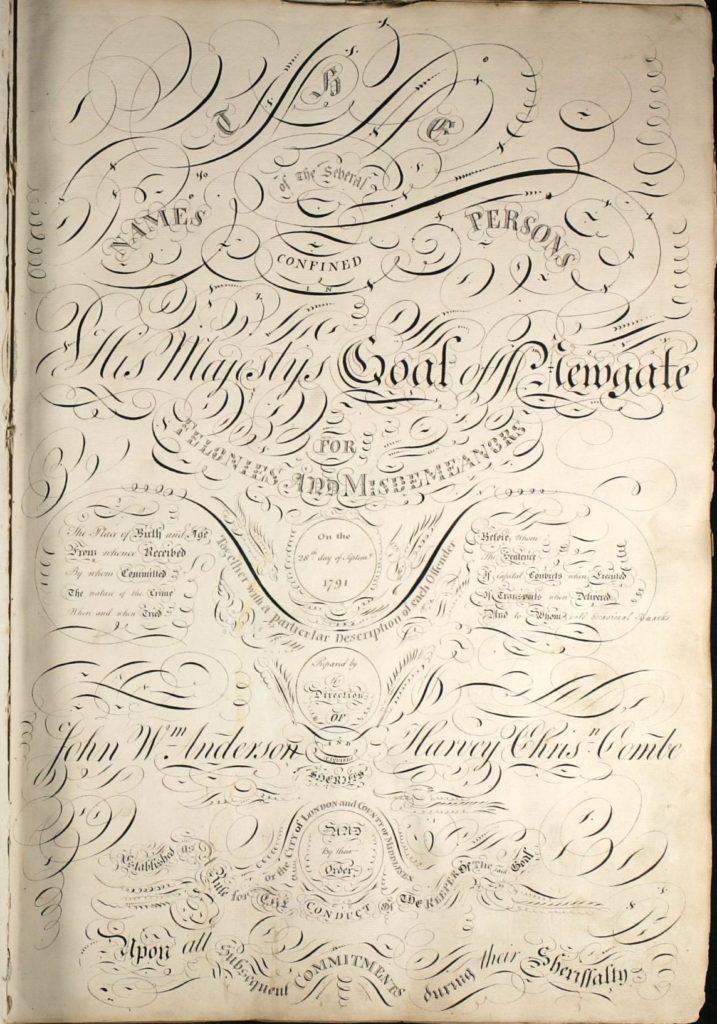 The elaborate front page of the first Criminal Register, 1791 for Prison Registers blog
