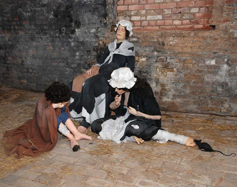Tableaux of female prisoners in the prison before its reform in the late 18th century
