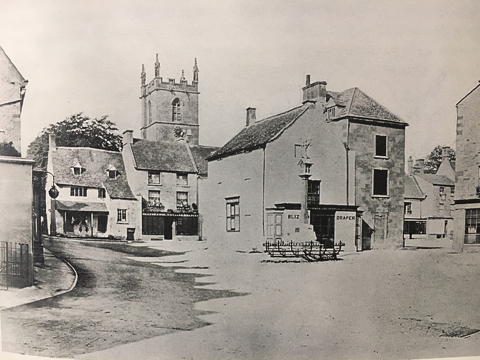The Old Courthouse, far left, c.1885. At this time being used as a butcher's shop