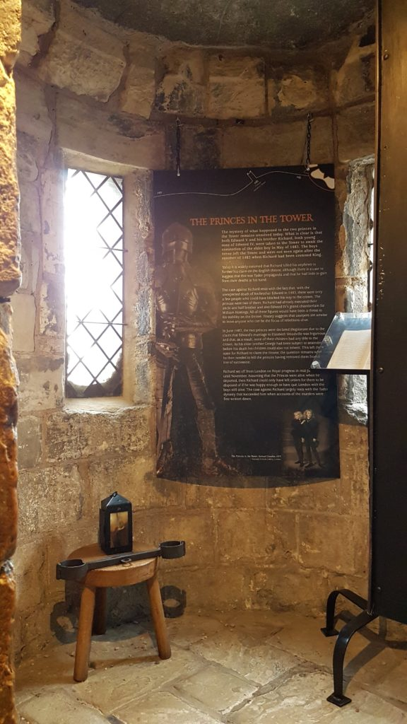 Inside the prison cell at Monk Bar. Note – the Princes in the Tower were never held here!