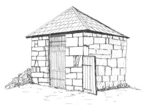 Line drawing of Ashwell lock-up