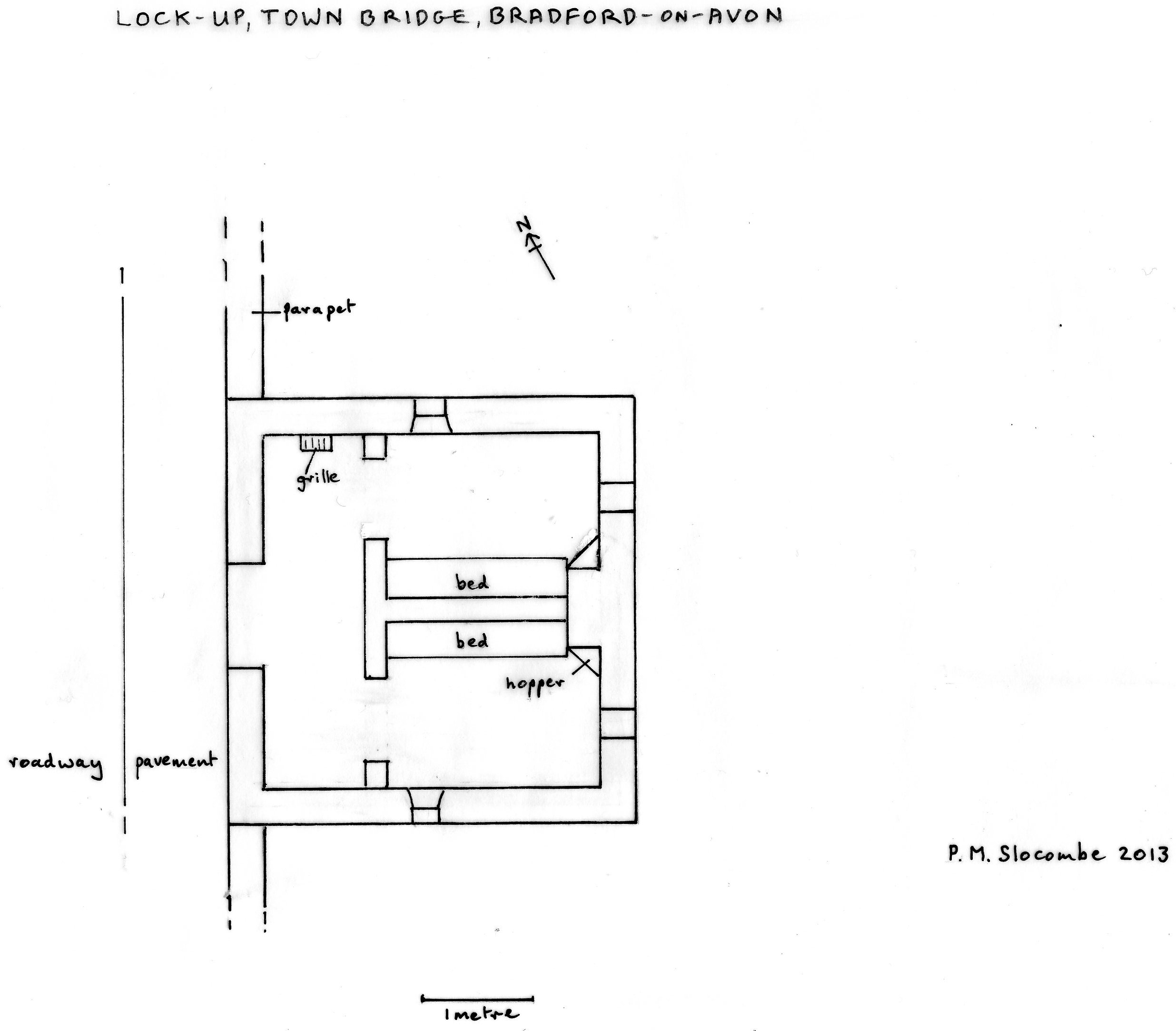 Plan (to scale) of the interior of the lock-up, showing the two cells, with position of the beds and hoppers (or toilets) with chute into the river. Drawn by P.M Slocombe, 2013.