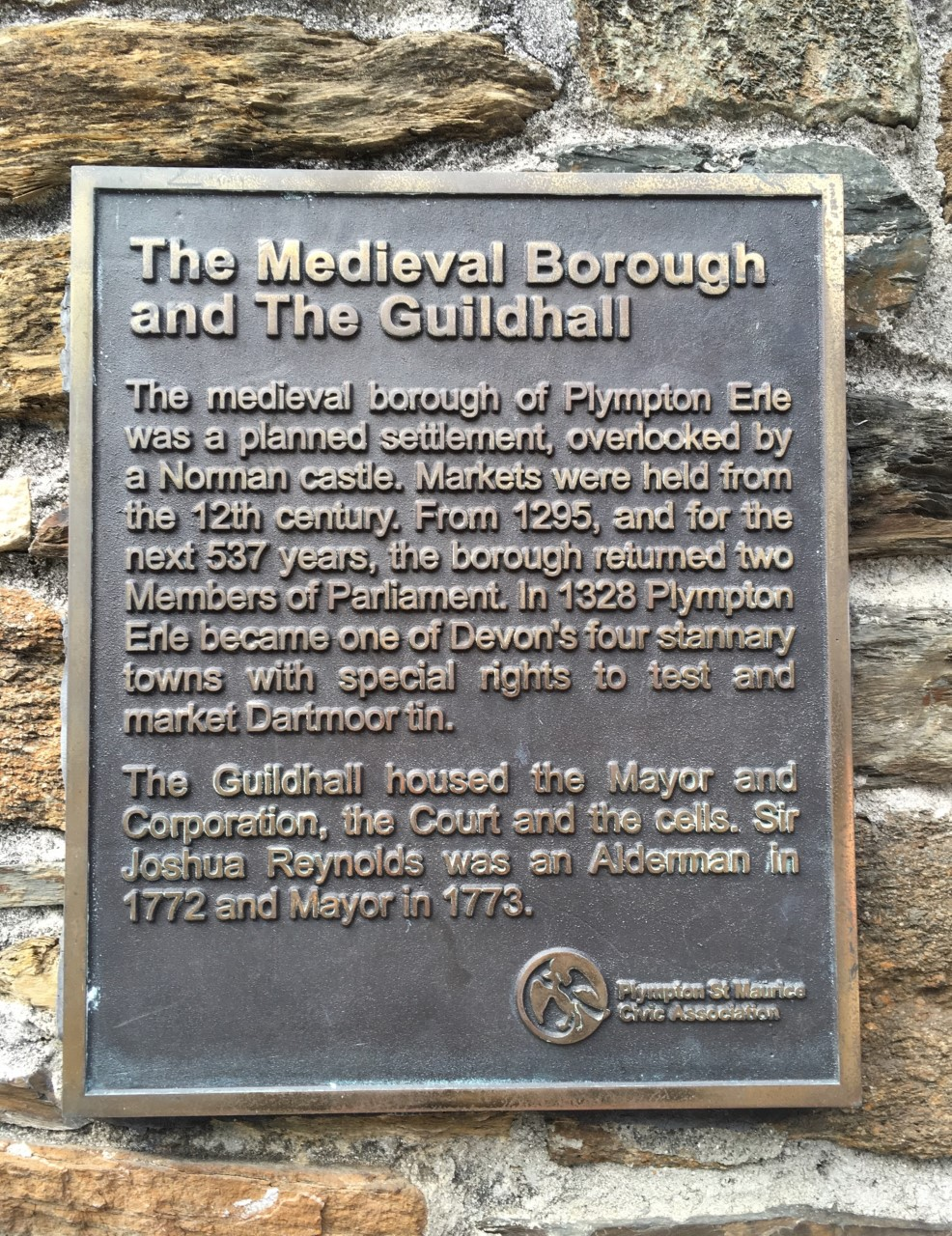 Plympton Erle, Guildhall, plaque