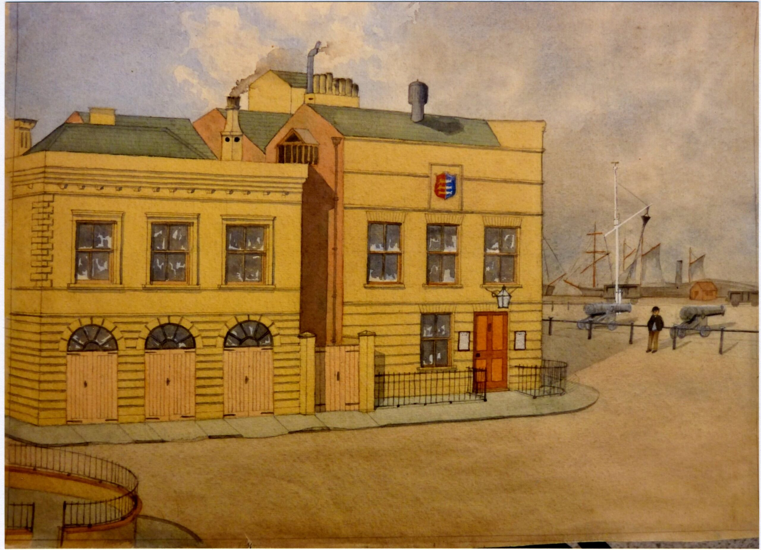 The Police Station Record Room and the Fire Engine House, east side of the Town Hall, Great Yarmouth. Built 1842. Pulled Down 1879-80. Painted in October 1942 from an original sketch taken in 1879
